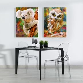 kit quadro coruja e coala