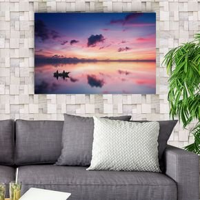 quadro decorativo canvas pescadores por do sol vinil adesivo de parede