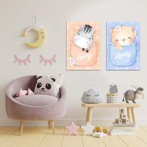 kit quadro mdf decorativo quarto infantil soneca