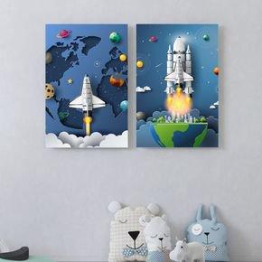 kit quadros foguete infantil