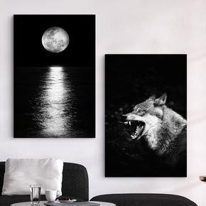 02 quadros lobo luar preto e branco