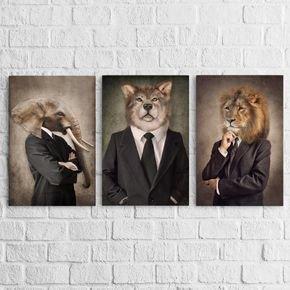 03 quadros animals style