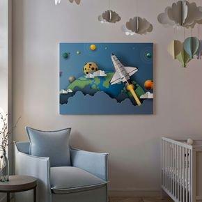 quadro infantil de nave espacial