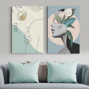 2 quadros design flowers woman