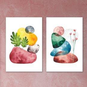 02 quadros pedras coloridas