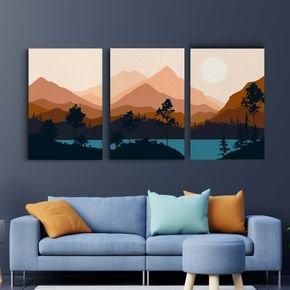 trio de quadros paisagem