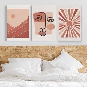conjunto quadros abstract face
