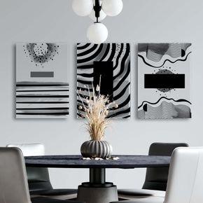 trio de quadros black abstracts