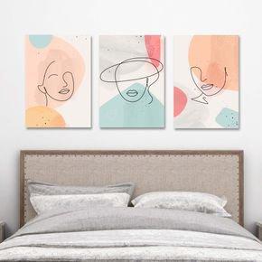 trio quadros abstract face