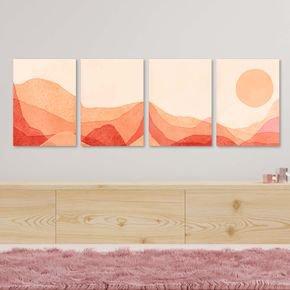 conjunto 4 quadros mdf montanhas