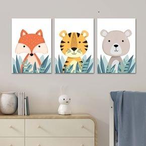 trio de quadros animais quarto infantil