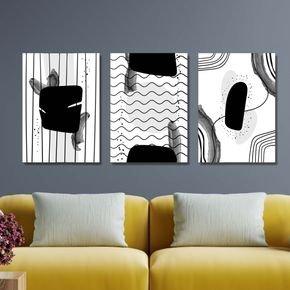 trio de quadro preto e branco abstratos